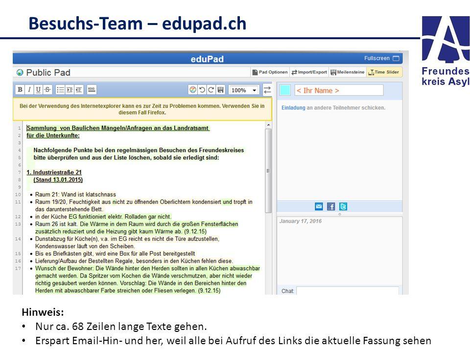 Besuchs-Team – edupad.ch Hinweis: Nur ca. 68 Zeilen lange Texte gehen. Erspart Email-Hin- und her, weil alle bei Aufruf des Links die aktuelle Fassung