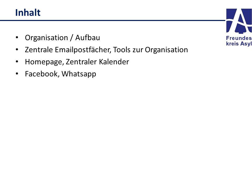 Inhalt Organisation / Aufbau Zentrale Emailpostfächer, Tools zur Organisation Homepage, Zentraler Kalender Facebook, Whatsapp