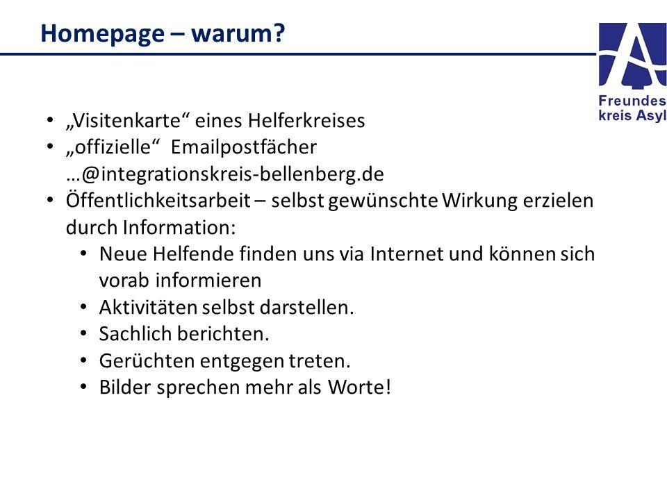 """Homepage – warum? """"Visitenkarte"""" eines Helferkreises """"offizielle"""" Emailpostfächer …@integrationskreis-bellenberg.de Öffentlichkeitsarbeit – selbst gew"""