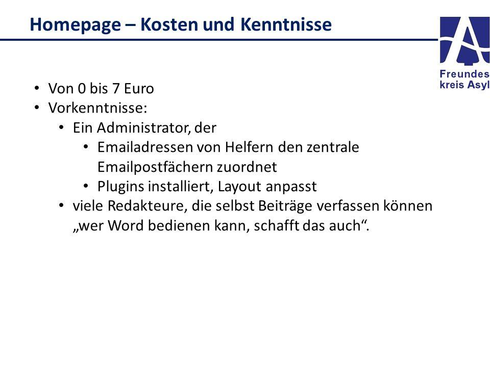 Homepage – Kosten und Kenntnisse Von 0 bis 7 Euro Vorkenntnisse: Ein Administrator, der Emailadressen von Helfern den zentrale Emailpostfächern zuordn