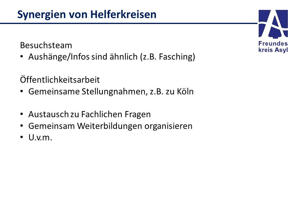 Synergien von Helferkreisen Besuchsteam Aushänge/Infos sind ähnlich (z.B. Fasching) Öffentlichkeitsarbeit Gemeinsame Stellungnahmen, z.B. zu Köln Aust