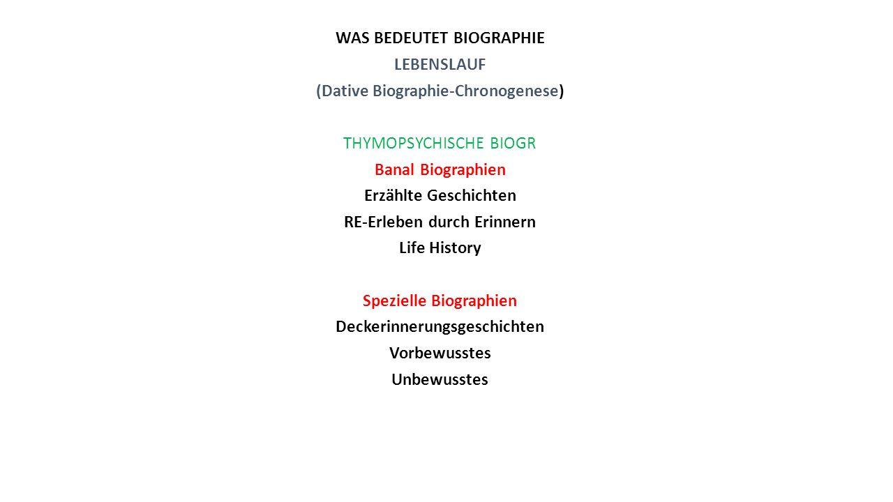 WAS BEDEUTET BIOGRAPHIE LEBENSLAUF (Dative Biographie-Chronogenese) THYMOPSYCHISCHE BIOGR Banal Biographien Erzählte Geschichten RE-Erleben durch Erin