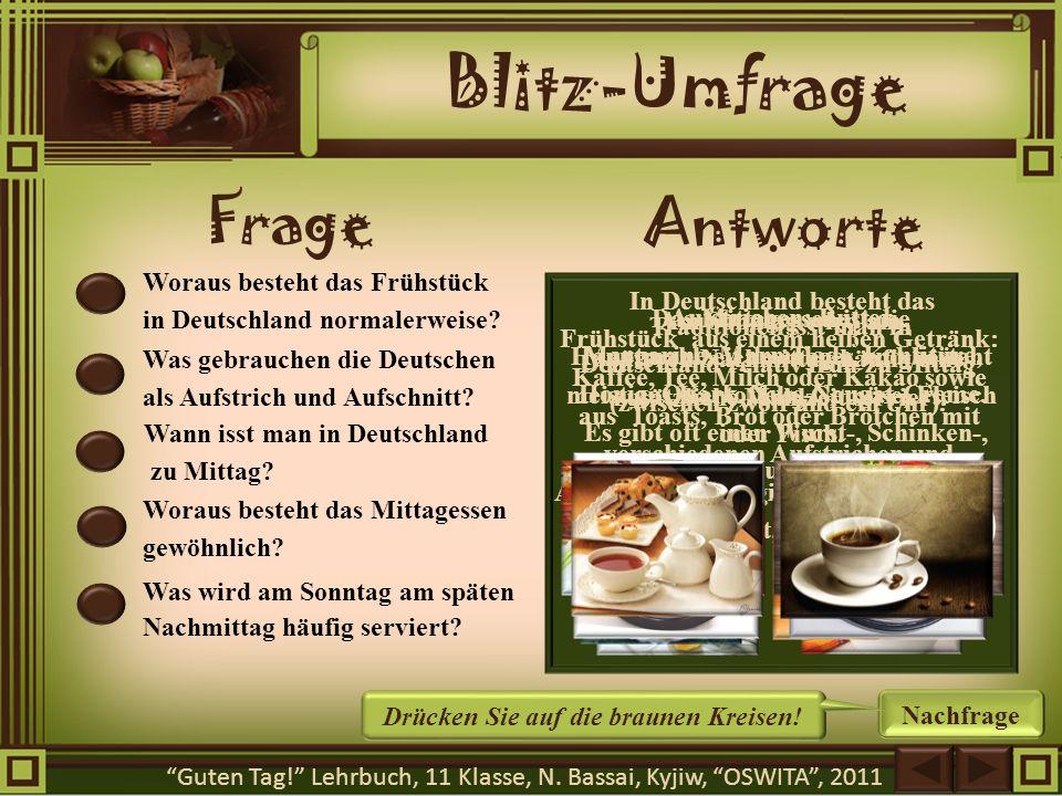 Blitz-Umfrage Frage Antworte Woraus besteht das Frühstück in Deutschland normalerweise? Was gebrauchen die Deutschen als Aufstrich und Aufschnitt? Wan