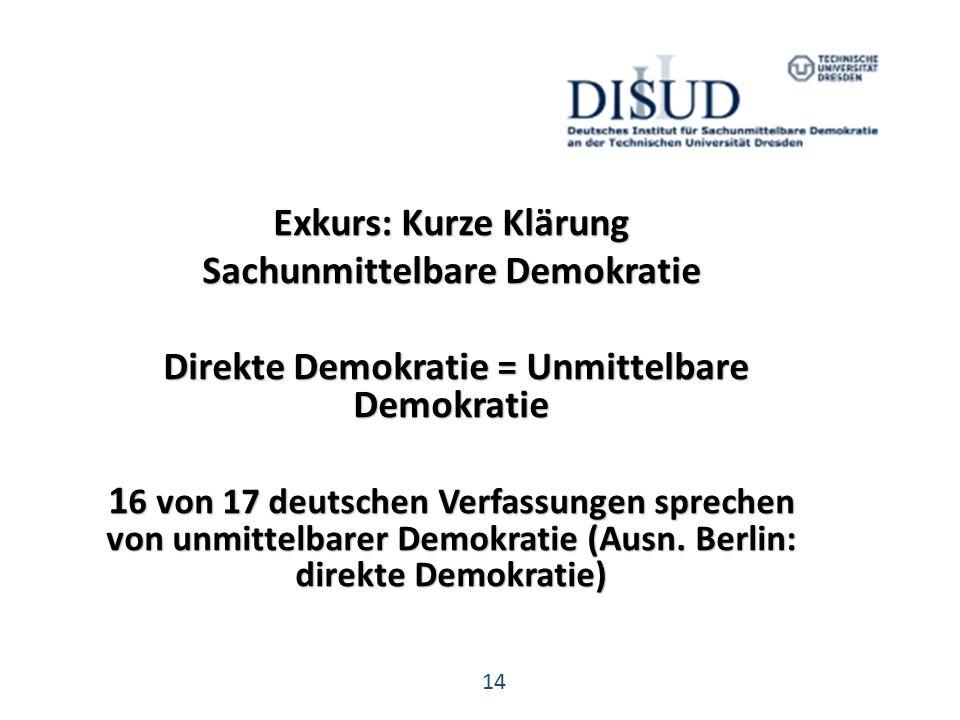 14 Exkurs: Kurze Klärung Sachunmittelbare Demokratie Direkte Demokratie = Unmittelbare Demokratie Direkte Demokratie = Unmittelbare Demokratie 1 6 von 17 deutschen Verfassungen sprechen von unmittelbarer Demokratie (Ausn.