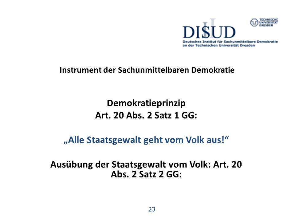 Instrument der Sachunmittelbaren Demokratie Demokratieprinzip Art.