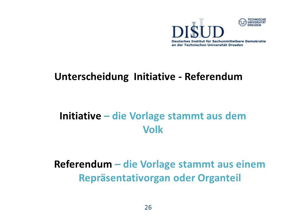 Unterscheidung Initiative - Referendum Initiative – die Vorlage stammt aus dem Volk 26 Referendum – die Vorlage stammt aus einem Repräsentativorgan oder Organteil