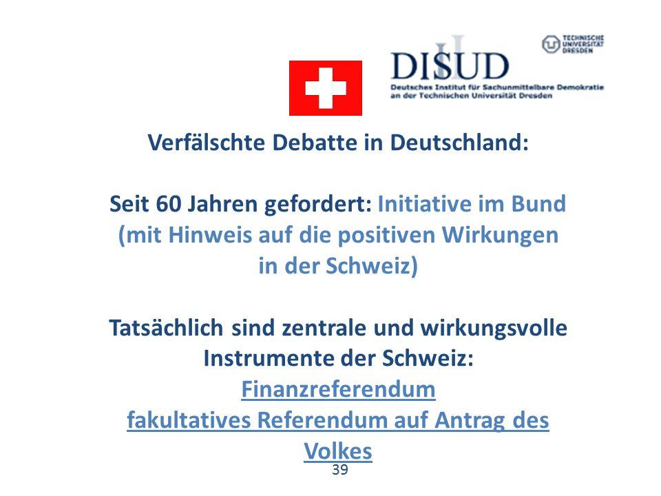 39 Verfälschte Debatte in Deutschland: Seit 60 Jahren gefordert: Initiative im Bund (mit Hinweis auf die positiven Wirkungen in der Schweiz) Tatsächlich sind zentrale und wirkungsvolle Instrumente der Schweiz: Finanzreferendum fakultatives Referendum auf Antrag des Volkes