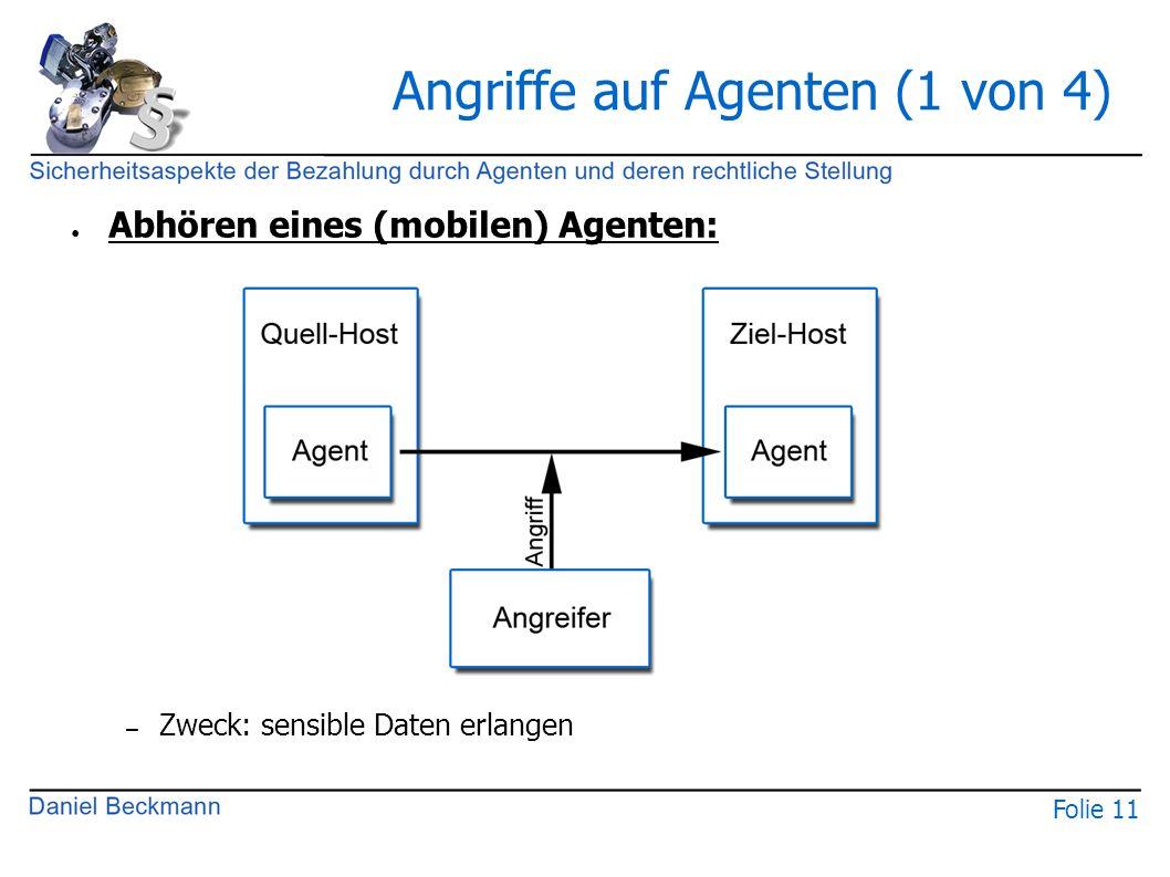 Folie 11 Angriffe auf Agenten (1 von 4) ● Abhören eines (mobilen) Agenten: – Zweck: sensible Daten erlangen