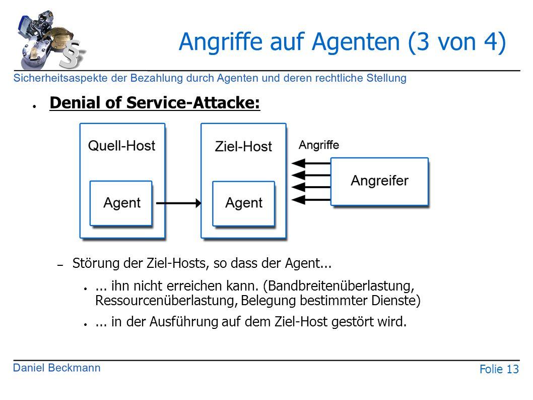 Folie 13 Angriffe auf Agenten (3 von 4) ● Denial of Service-Attacke: – Störung der Ziel-Hosts, so dass der Agent... ●... ihn nicht erreichen kann. (Ba