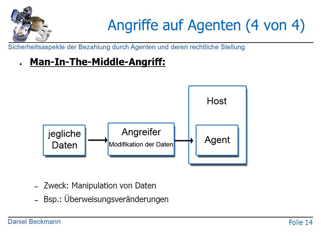 Folie 14 Angriffe auf Agenten (4 von 4) ● Man-In-The-Middle-Angriff: – Zweck: Manipulation von Daten – Bsp.: Überweisungsveränderungen