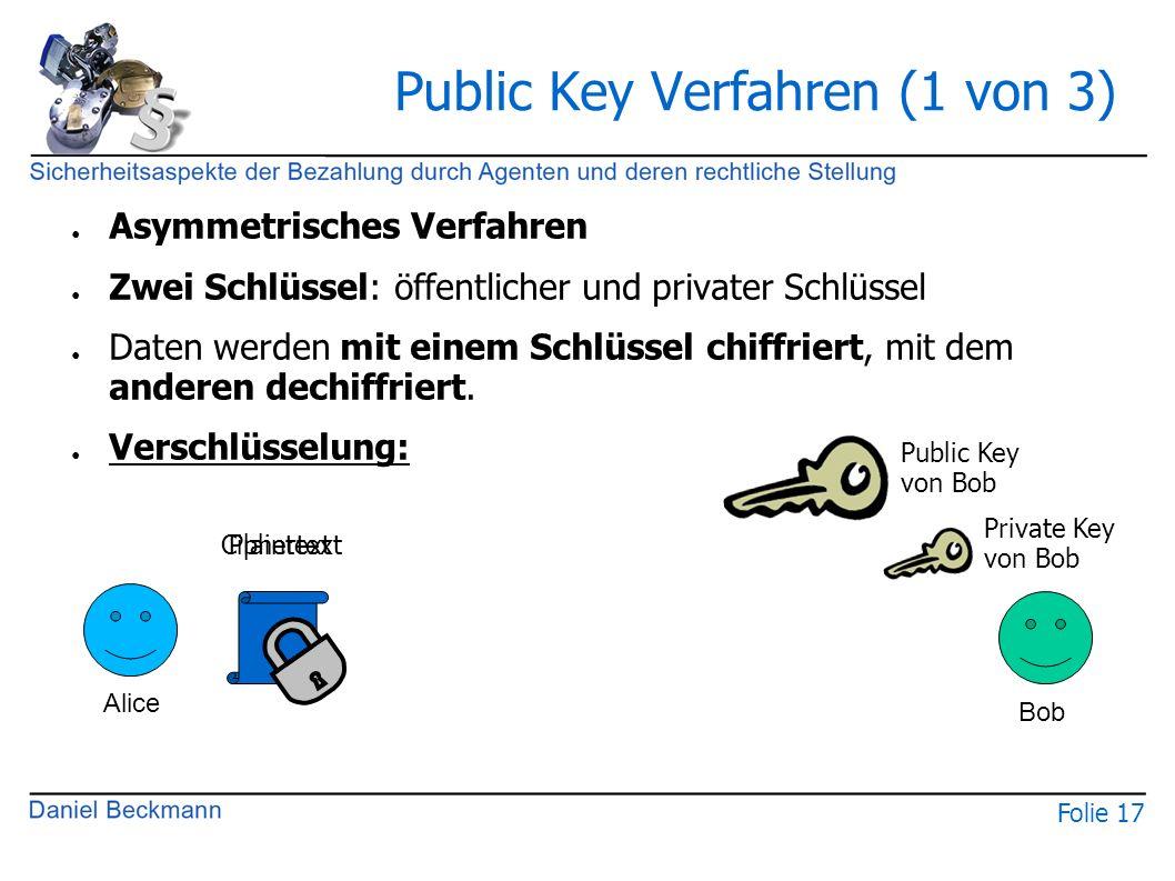 Folie 17 Public Key Verfahren (1 von 3) ● Asymmetrisches Verfahren ● Zwei Schlüssel: öffentlicher und privater Schlüssel ● Daten werden mit einem Schlüssel chiffriert, mit dem anderen dechiffriert.