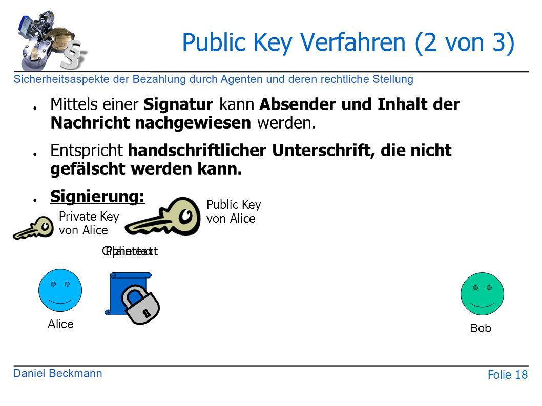 Folie 18 Public Key Verfahren (2 von 3) ● Mittels einer Signatur kann Absender und Inhalt der Nachricht nachgewiesen werden. ● Entspricht handschriftl