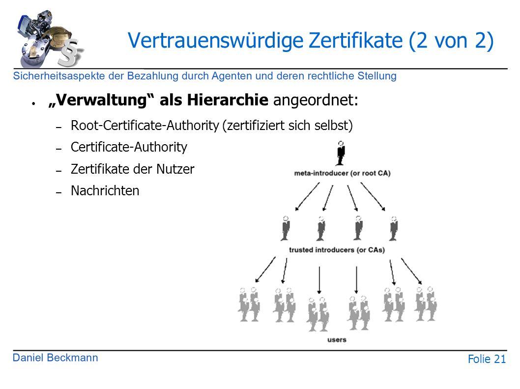 """Folie 21 Vertrauenswürdige Zertifikate (2 von 2) ● """"Verwaltung als Hierarchie angeordnet: – Root-Certificate-Authority (zertifiziert sich selbst) – Certificate-Authority – Zertifikate der Nutzer – Nachrichten"""