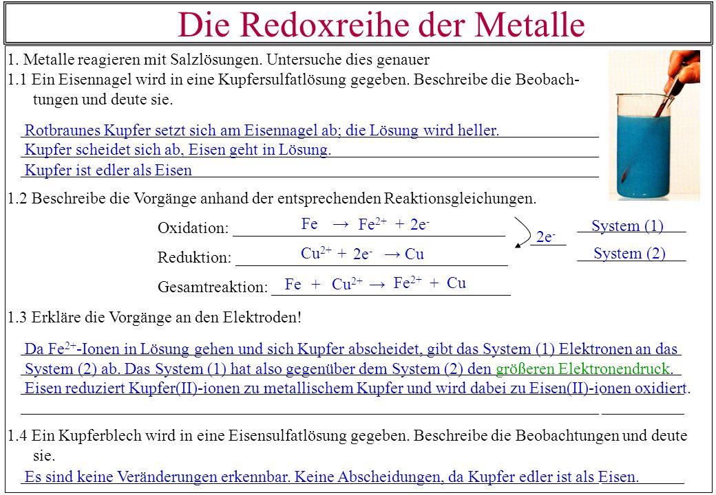 Die Redoxreihe der Metalle 1. Metalle reagieren mit Salzlösungen. Untersuche dies genauer 1.1 Ein Eisennagel wird in eine Kupfersulfatlösung gegeben.