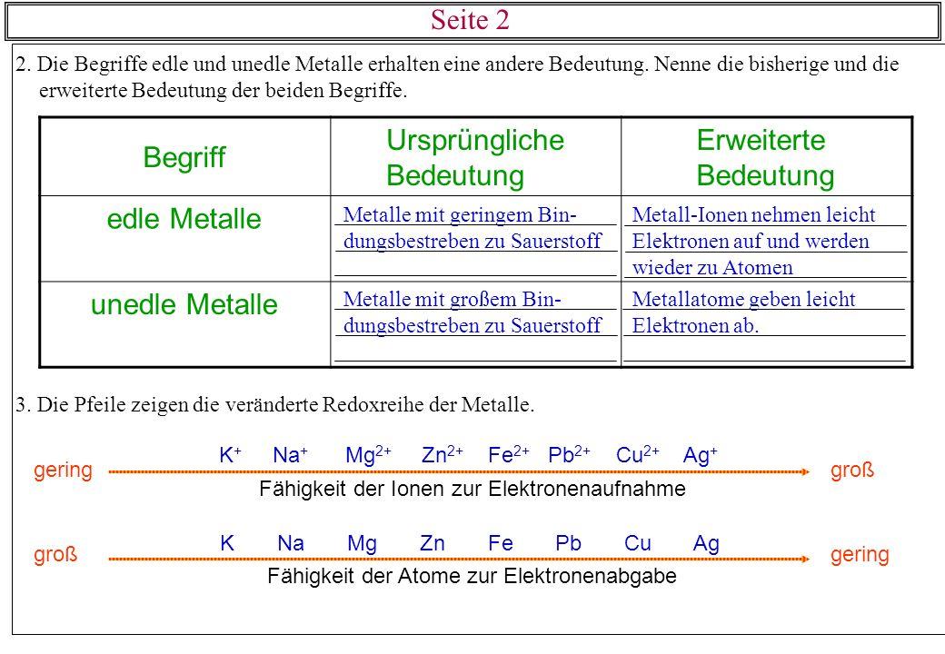 2. Die Begriffe edle und unedle Metalle erhalten eine andere Bedeutung. Nenne die bisherige und die erweiterte Bedeutung der beiden Begriffe. 3. Die P