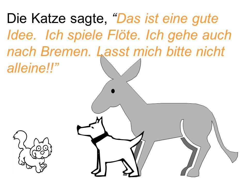 """Die Katze sagte, """"Das ist eine gute Idee. Ich spiele Flöte. Ich gehe auch nach Bremen. Lasst mich bitte nicht alleine!!"""""""