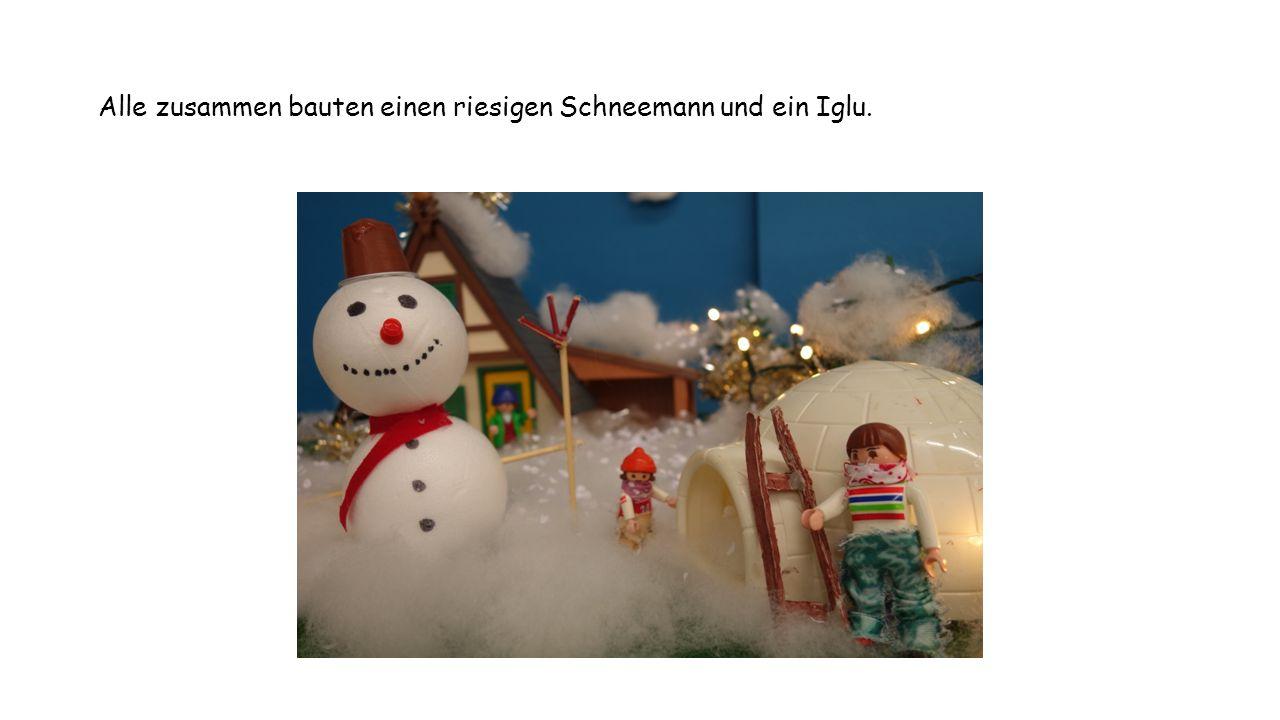 Alle zusammen bauten einen riesigen Schneemann und ein Iglu.