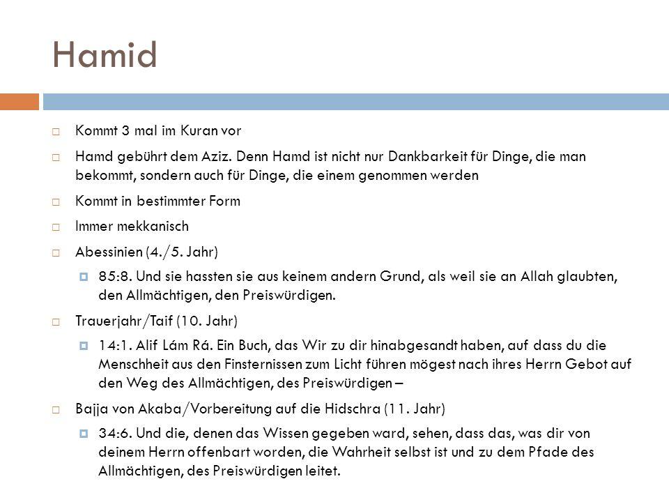 Hamid  Kommt 3 mal im Kuran vor  Hamd gebührt dem Aziz. Denn Hamd ist nicht nur Dankbarkeit für Dinge, die man bekommt, sondern auch für Dinge, die