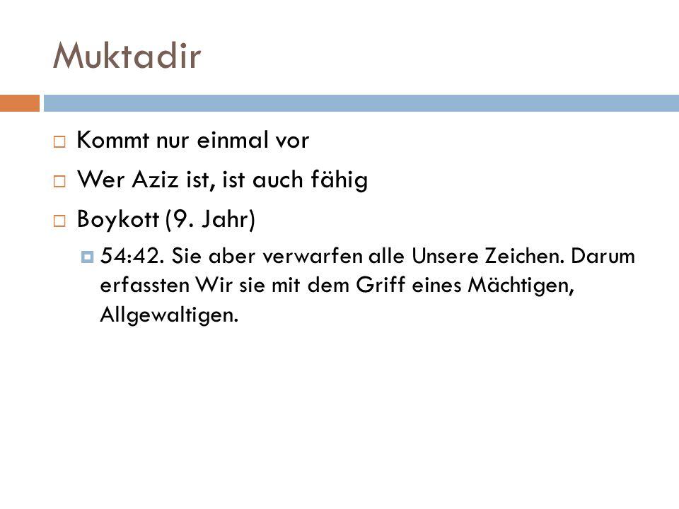 Muktadir  Kommt nur einmal vor  Wer Aziz ist, ist auch fähig  Boykott (9. Jahr)  54:42. Sie aber verwarfen alle Unsere Zeichen. Darum erfassten Wi