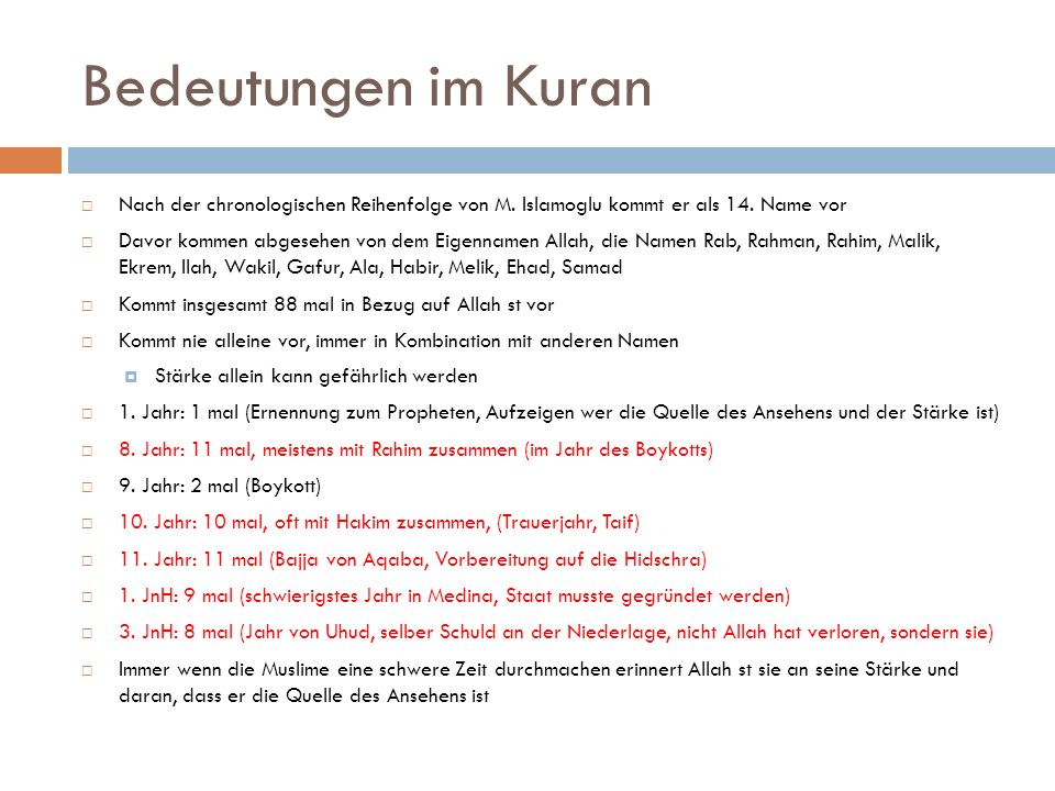 Bedeutungen im Kuran  Nach der chronologischen Reihenfolge von M. Islamoglu kommt er als 14. Name vor  Davor kommen abgesehen von dem Eigennamen All