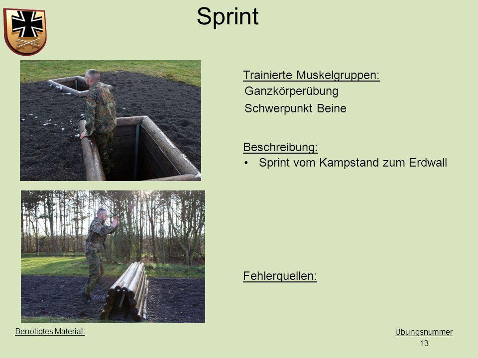 Trainierte Muskelgruppen: Beschreibung: Fehlerquellen: Übungsnummer Benötigtes Material: Sprint vom Kampstand zum Erdwall 13 Sprint Ganzkörperübung Sc
