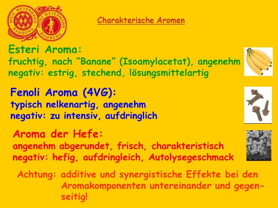 "Charakterische Aromen Esteri Aroma: fruchtig, nach ""Banane"" (Isoamylacetat), angenehm negativ: estrig, stechend, lösungsmittelartig Fenoli Aroma (4VG)"