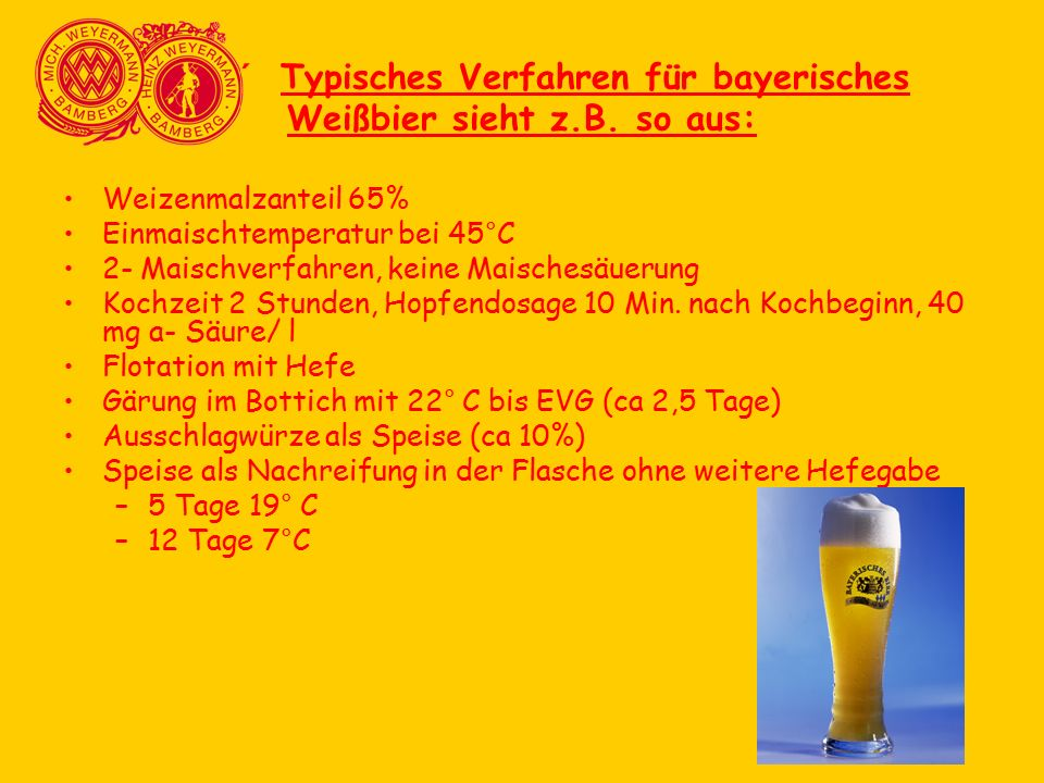 ´ Typisches Verfahren für bayerisches Weißbier sieht z.B. so aus: Weizenmalzanteil 65% Einmaischtemperatur bei 45°C 2- Maischverfahren, keine Maisches