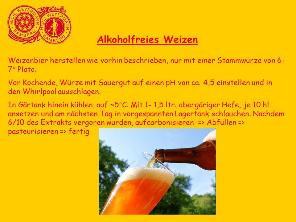 Alkoholfreies Weizen Weizenbier herstellen wie vorhin beschrieben, nur mit einer Stammwürze von 6- 7° Plato. Vor Kochende, Würze mit Sauergut auf eine