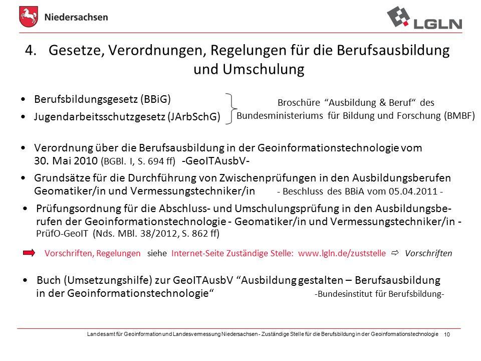 Landesamt für Geoinformation und Landesvermessung Niedersachsen - Zuständige Stelle für die Berufsbildung in der Geoinformationstechnologie 10 4.Geset