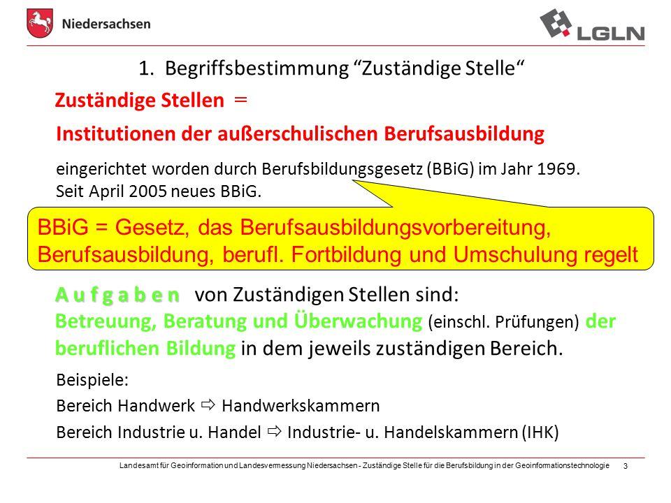 Landesamt für Geoinformation und Landesvermessung Niedersachsen - Zuständige Stelle für die Berufsbildung in der Geoinformationstechnologie 3 1.