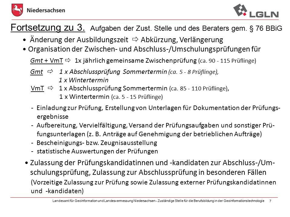 Landesamt für Geoinformation und Landesvermessung Niedersachsen - Zuständige Stelle für die Berufsbildung in der Geoinformationstechnologie 7 Fortsetz