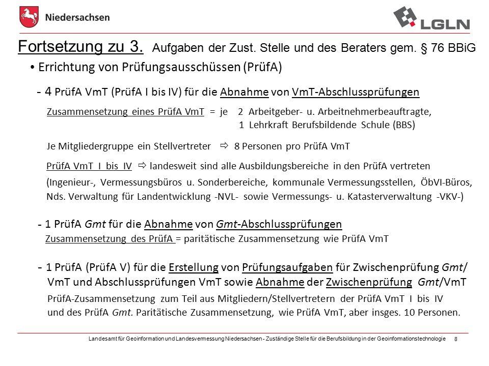 Landesamt für Geoinformation und Landesvermessung Niedersachsen - Zuständige Stelle für die Berufsbildung in der Geoinformationstechnologie 8 Fortsetzung zu 3.