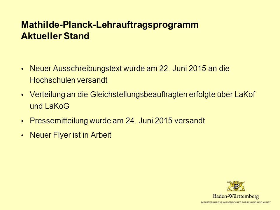 Mathilde-Planck-Lehrauftragsprogramm Aktueller Stand Neuer Ausschreibungstext wurde am 22.