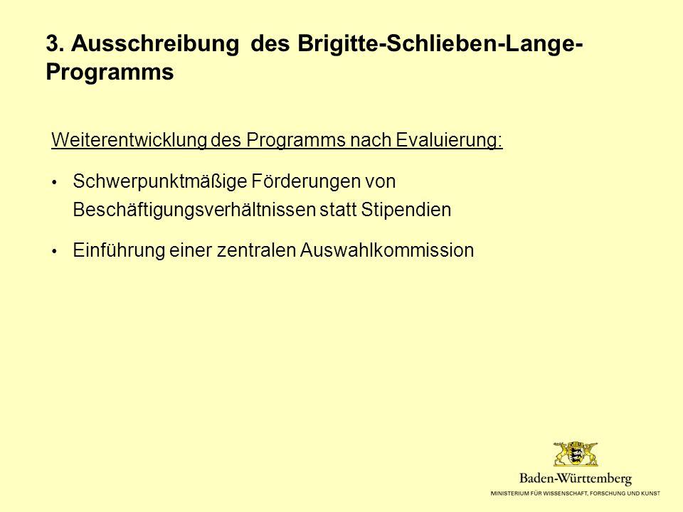 Weiterentwicklung des Programms nach Evaluierung: Schwerpunktmäßige Förderungen von Beschäftigungsverhältnissen statt Stipendien Einführung einer zentralen Auswahlkommission 3.