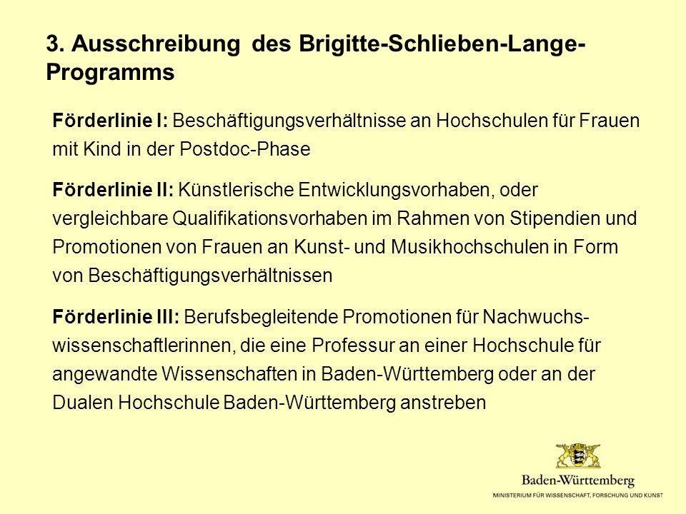 Förderlinie I: Beschäftigungsverhältnisse an Hochschulen für Frauen mit Kind in der Postdoc-Phase Förderlinie II: Künstlerische Entwicklungsvorhaben, oder vergleichbare Qualifikationsvorhaben im Rahmen von Stipendien und Promotionen von Frauen an Kunst- und Musikhochschulen in Form von Beschäftigungsverhältnissen Förderlinie III: Berufsbegleitende Promotionen für Nachwuchs- wissenschaftlerinnen, die eine Professur an einer Hochschule für angewandte Wissenschaften in Baden-Württemberg oder an der Dualen Hochschule Baden-Württemberg anstreben 3.