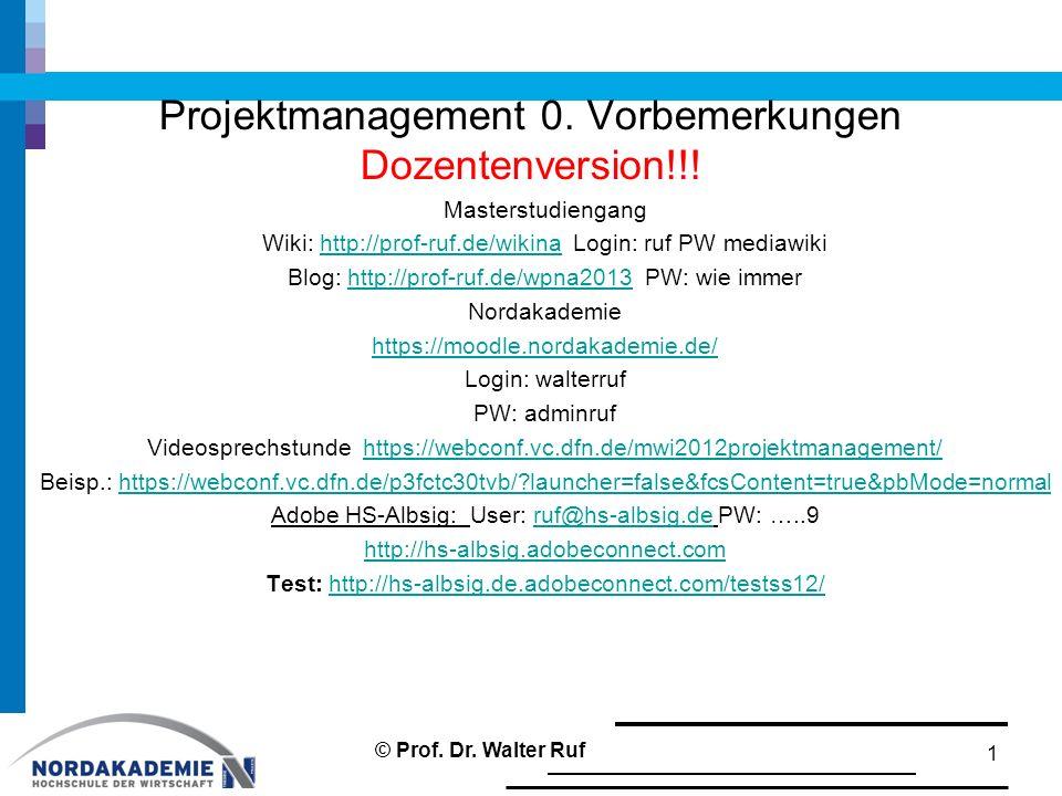 Projektmanagement 0. Vorbemerkungen Dozentenversion!!! Masterstudiengang Wiki: http://prof-ruf.de/wikina Login: ruf PW mediawikihttp://prof-ruf.de/wik