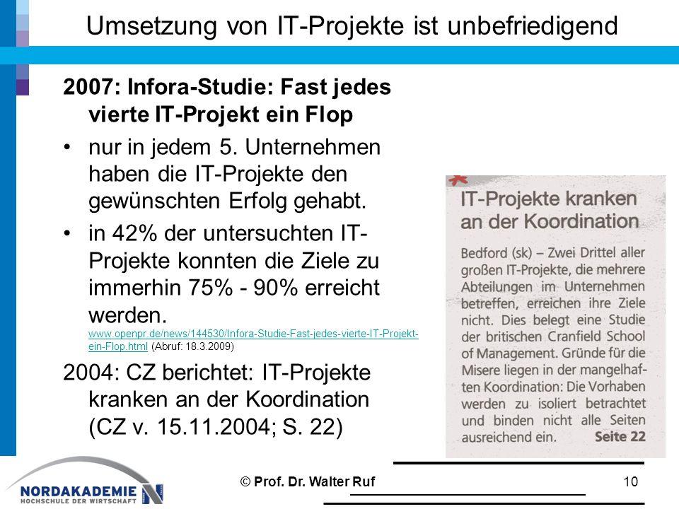 Umsetzung von IT-Projekte ist unbefriedigend 2007: Infora-Studie: Fast jedes vierte IT-Projekt ein Flop nur in jedem 5. Unternehmen haben die IT-Proje