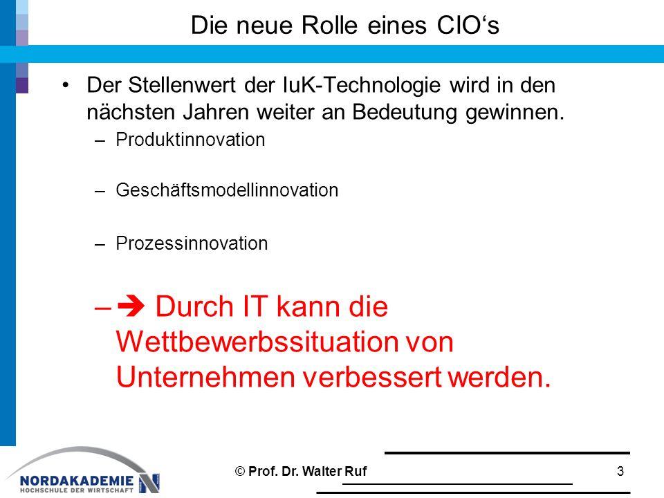 Die neue Rolle eines CIO's Der Stellenwert der IuK-Technologie wird in den nächsten Jahren weiter an Bedeutung gewinnen. –Produktinnovation –Geschäfts