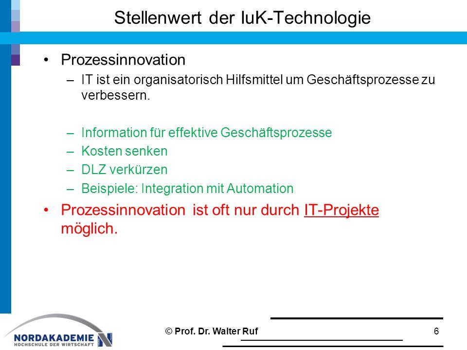 Stellenwert der IuK-Technologie Prozessinnovation –IT ist ein organisatorisch Hilfsmittel um Geschäftsprozesse zu verbessern. –Information für effekti