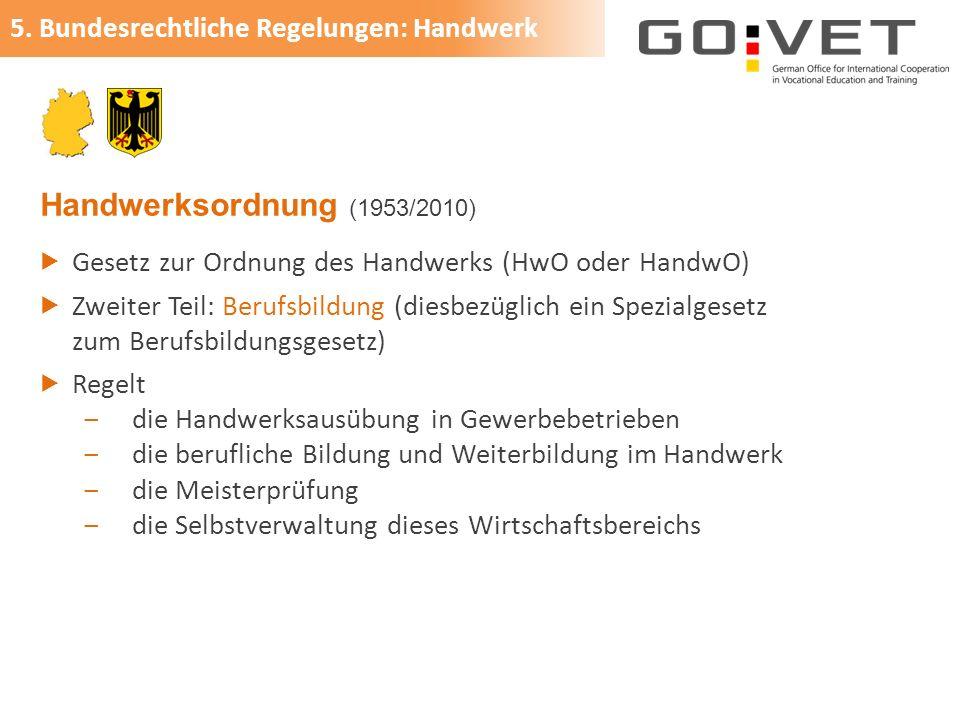 Handwerksordnung (1953/2010)  Gesetz zur Ordnung des Handwerks (HwO oder HandwO)  Zweiter Teil: Berufsbildung (diesbezüglich ein Spezialgesetz zum B