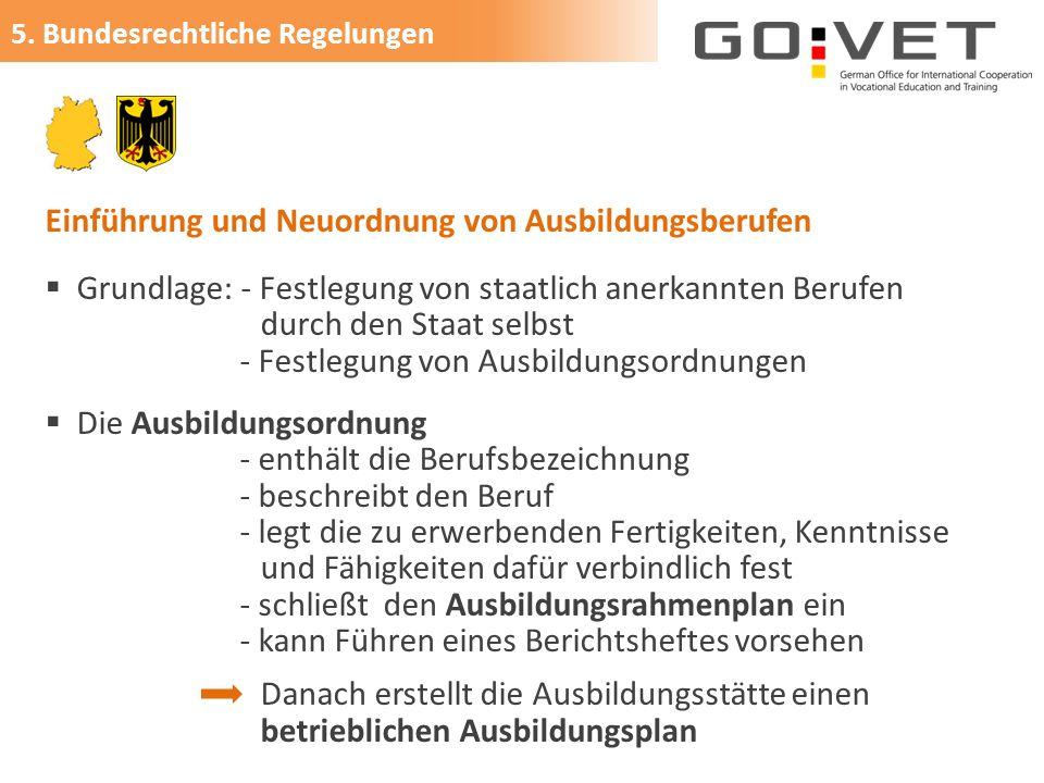 Einführung und Neuordnung von Ausbildungsberufen  Grundlage: - Festlegung von staatlich anerkannten Berufen durch den Staat selbst - Festlegung von A