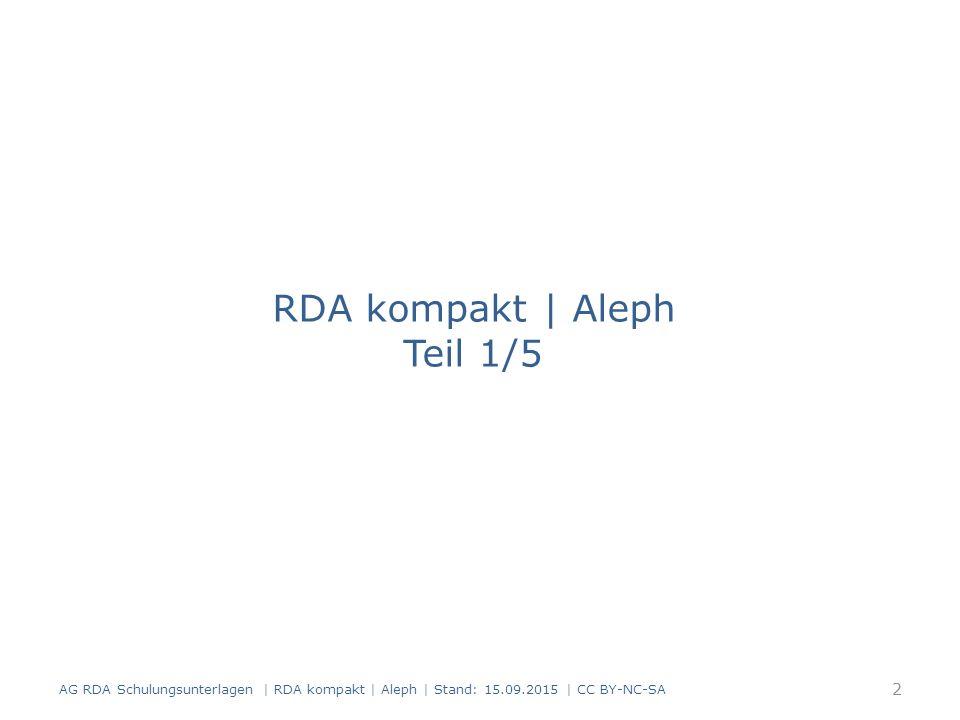 Grundlegende Begriffe in RDA FRBR-Vokabular (Entitäten – Merkmale - Beziehungen und Werk – Expression - Manifestation - Exemplar) Kernelemente und Zusatzelemente Standardelemente-Set und D-A-CH Sucheinstiege Optionen und Alternativen Beispiele Ausnahmen Beschreibungsarten Cataloguer's Judgement AG RDA Schulungsunterlagen   RDA kompakt   Aleph   Stand: 15.09.2015   CC BY-NC-SA 43