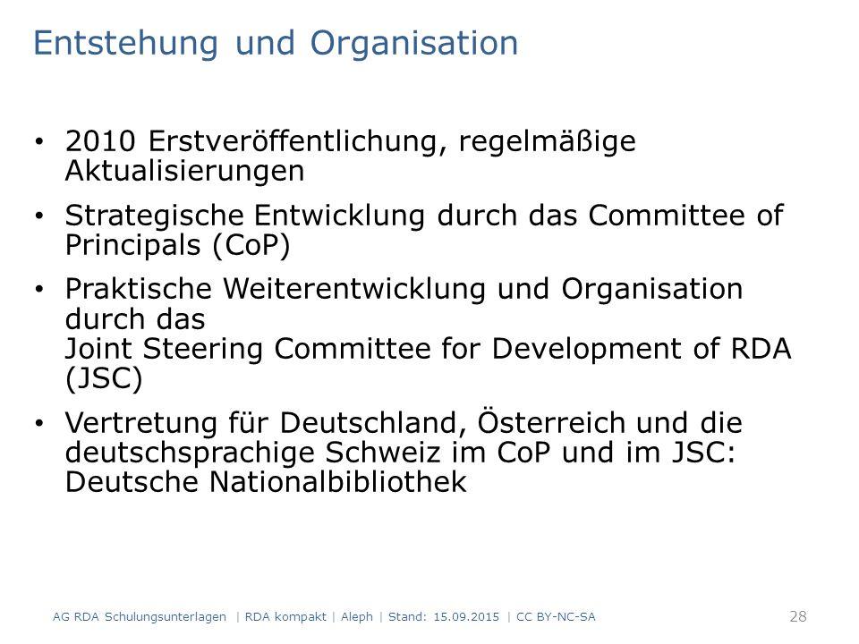 Entstehung und Organisation 2010 Erstveröffentlichung, regelmäßige Aktualisierungen Strategische Entwicklung durch das Committee of Principals (CoP) P
