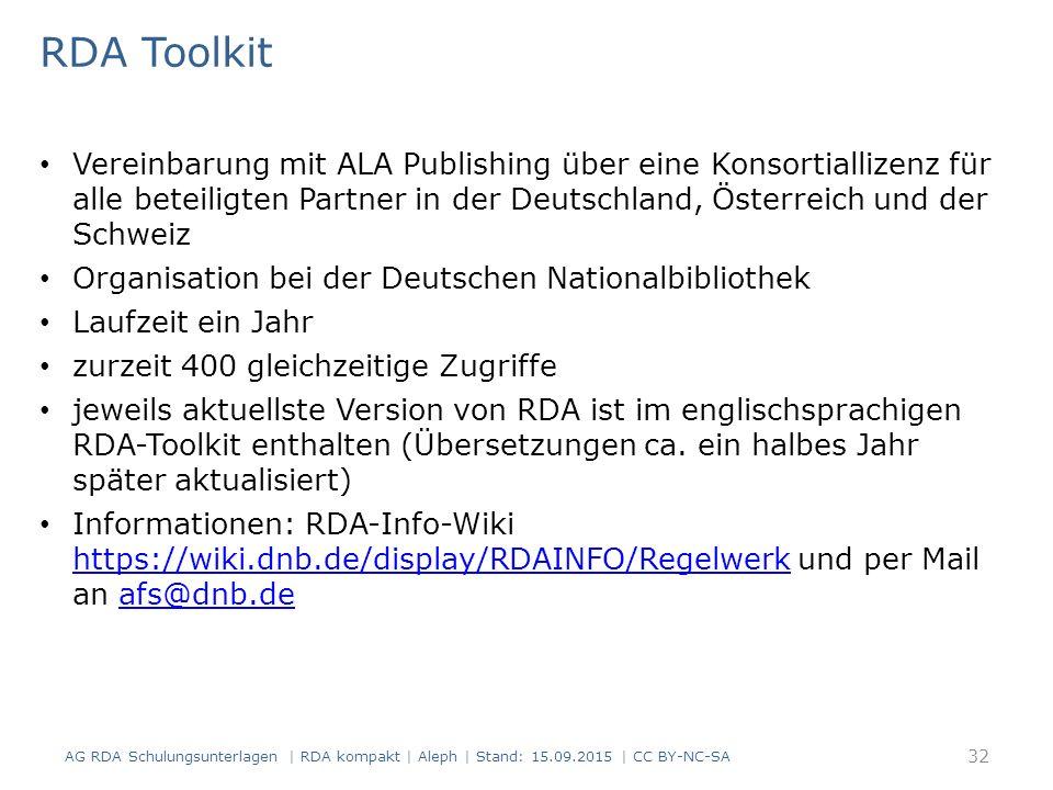 RDA Toolkit Vereinbarung mit ALA Publishing über eine Konsortiallizenz für alle beteiligten Partner in der Deutschland, Österreich und der Schweiz Org