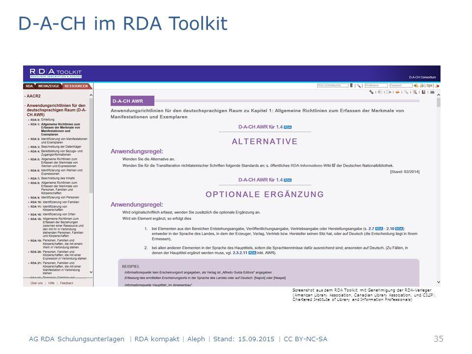 D-A-CH im RDA Toolkit AG RDA Schulungsunterlagen | RDA kompakt | Aleph | Stand: 15.09.2015 | CC BY-NC-SA Screenshot aus dem RDA Toolkit mit Genehmigun