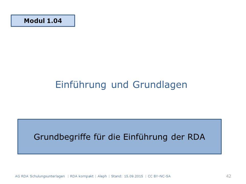 Einführung und Grundlagen Modul 1.04 AG RDA Schulungsunterlagen | RDA kompakt | Aleph | Stand: 15.09.2015 | CC BY-NC-SA Grundbegriffe für die Einführu