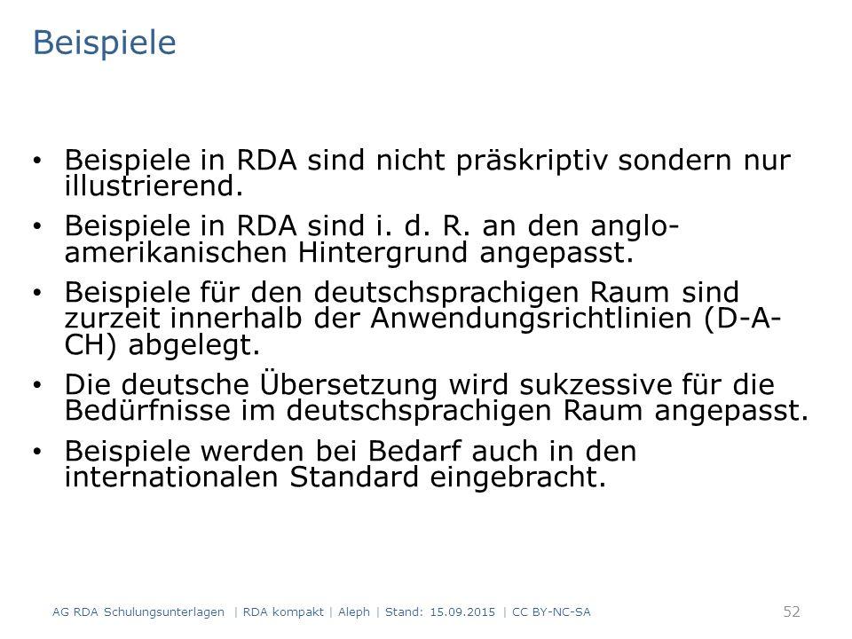 Beispiele Beispiele in RDA sind nicht präskriptiv sondern nur illustrierend. Beispiele in RDA sind i. d. R. an den anglo- amerikanischen Hintergrund a