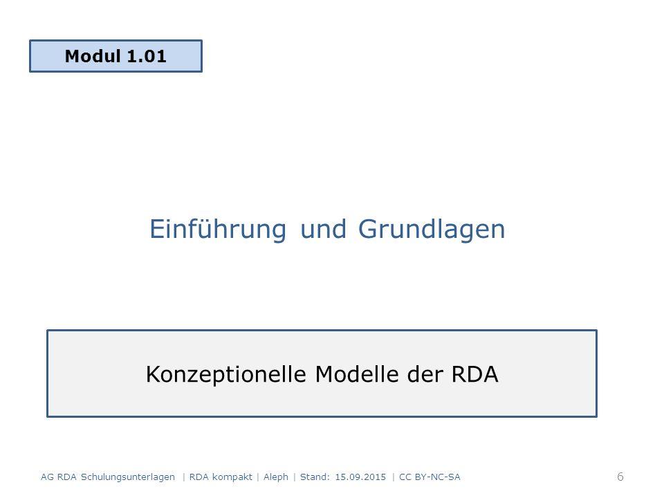 Einführung und Grundlagen Modul 1.01 AG RDA Schulungsunterlagen | RDA kompakt | Aleph | Stand: 15.09.2015 | CC BY-NC-SA Konzeptionelle Modelle der RDA