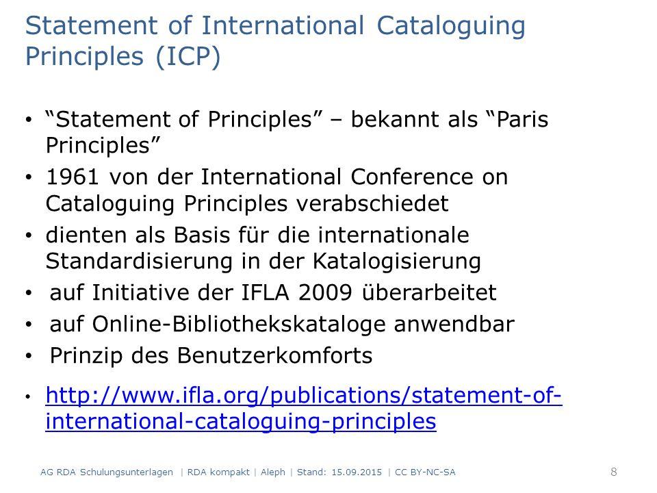 """Functional Requirements for Bibliographic Records (FRBR) 1998 erstmals veröffentlicht in der gleichnamigen Studie der """"IFLA Study Group on FRBR 2006 von der """"IFLA FRBR Review Group weltweit in ein Stellungnahme-Verfahren eingebracht 2008/2009 überarbeitete Fassung 2009 ins Deutsche und seither in zahlreiche andere Sprachen übersetzt Betreuung durch die FRBR Review Group, eine Arbeitsgruppe der IFLA Cataloguing Section Konsolidierung der Modelle als Arbeitsschwerpunkt AG RDA Schulungsunterlagen   RDA kompakt   Aleph   Stand: 15.09.2015   CC BY-NC-SA 9"""