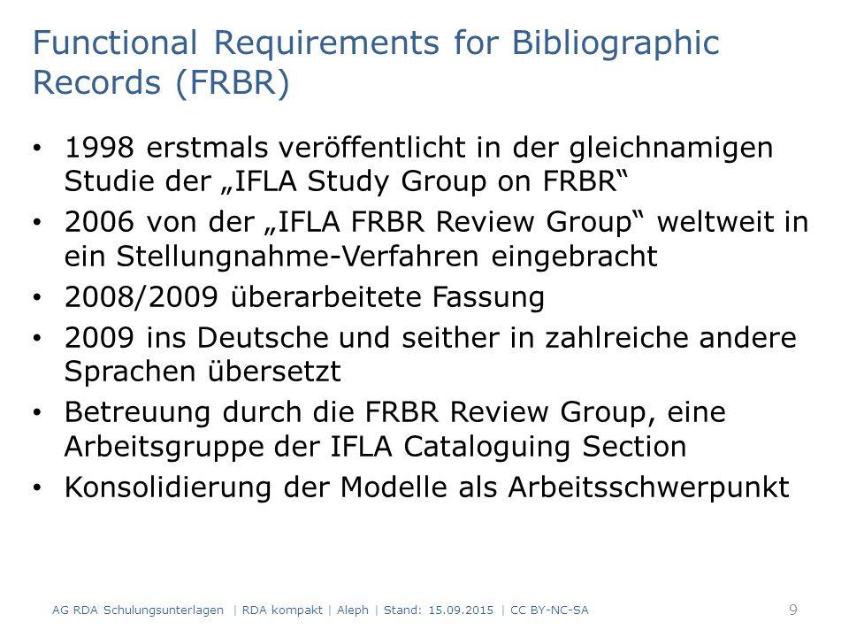 Benutzeranforderungen Finden Identifizieren Auswählen und Zugang erhalten AG RDA Schulungsunterlagen   RDA kompakt   Aleph   Stand: 15.09.2015   CC BY-NC-SA Functional Requirements for Bibliographic Records (FRBR) 10